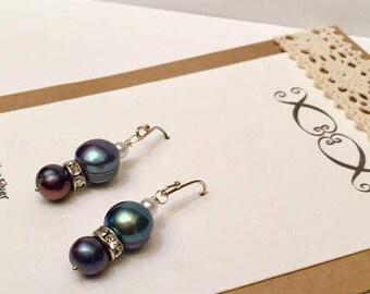 Pearl Dangle Earrings, Cultured Black Freshwater Pearls