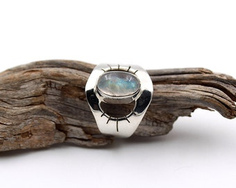 BOHO Rainbow Moonstone & 925 Sterling Silver Ring S. US 6.25 / FR 53.5 White Labradorite Blanche - Blue Flash