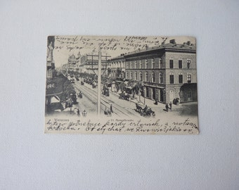 Antique Postcard 1900's Vintage Black and White Postcard From Poland - Warsaw Collectible Postcard, Marszalkowska Street, Mixed Media 1900's
