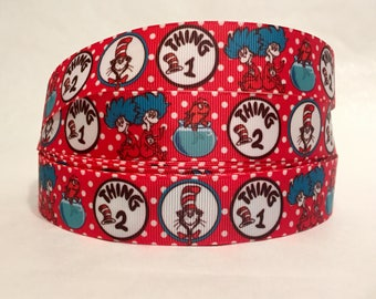 "1/3/5/10 Yards - 1"" Dr. Seuss Thing 1 Thing 2 Cat In The Hat Grosgrain Ribbon"