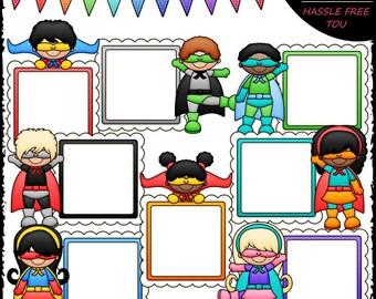 Superhero Message Boards Clip Art and B&W Set