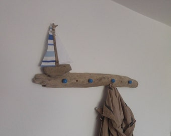 Driftwood Sail Boat Coat Hook, Boat, Nautical, Driftwood, Sail Boat, Sea, Seaside, Nature, Rustic, Natural, Quirkiture, Coat Hook