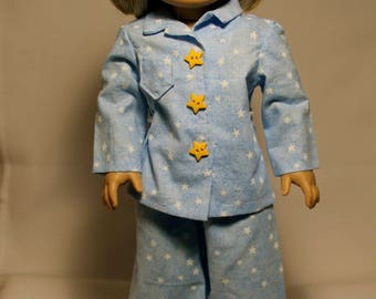 Pajamas with Slippers-Made to fit 18 inch Dolls like American Girl Doll Clothes