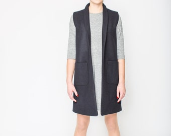 Black long vest women, Wool cashmere women's vest, Long wool vest, Sleeveless wool coat,  Gilet femme, Long vest coat, Cashmere waistcoat
