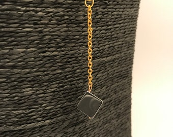 Necklace gold, Cube Hematite