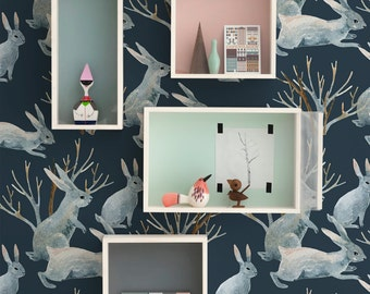 Winter rabbits wallpaper, Animal wall mural for kids rooms and nurseries, Dark wall decal, Reusable, Removable #109