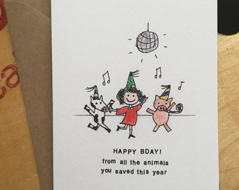 Vegan Animal Disco Birthday Card