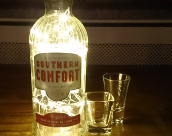 Southern Comfort Bottle Light. Upcycled Bottle Lamp. Perfect Mood Lighting Gift For Women & Boyfriend Gift For Men. Upcycled Lighting
