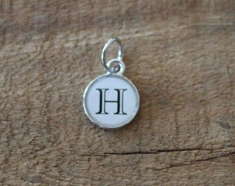 Silver Initial with white background ~ (Every Initial Available)