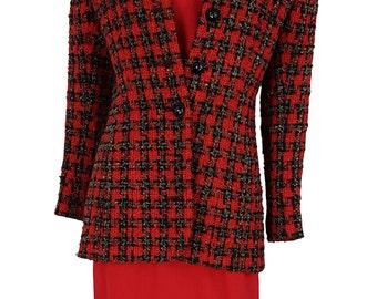 HARDY AMIES Vintage Red Jacket Dress Set (10)
