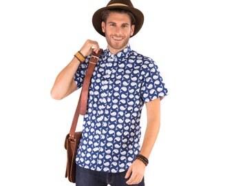 Mens 100% Cotton Short Sleeve Slim Fit Shirt Blue White Whales Print