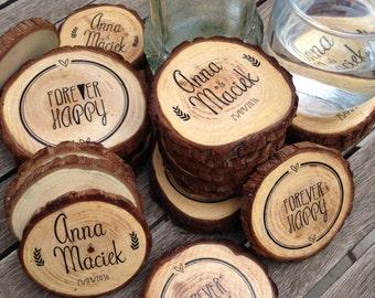 Coaster wood custom. Slices of wood. Rustic wedding details. Custom wedding reminders. Original gift.