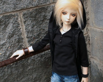 BJD SD Sleeveless long vest with hood