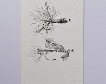 Fly Fishing Art, Fish Art, Ink Drawing, Pen Drawing for Fisherman, Small Wall Art, Drawing for Dad, Father's Day Art, Original Drawing