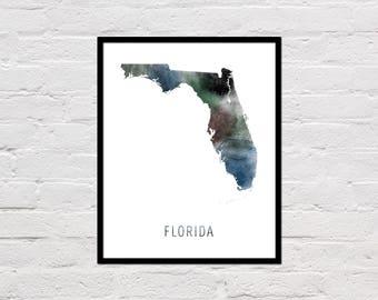 Florida Map Print, Printable Florida State Map, Florida Art Print, Florida Printable Wall Art, Watercolor Map, Florida Poster, Download