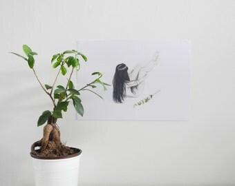 Natural beauty - Art drawing portrait print illustration