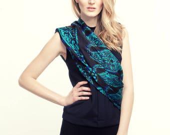 Boho chik Black turquoise khaki squeare silk scarf. Handmade handpainted  pure silk