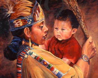 Native American Mother And Child Art Tiny Dancer oil painti...