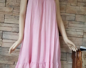 Pink nightie,100% viscosa night gown,maternity fashion,(2)