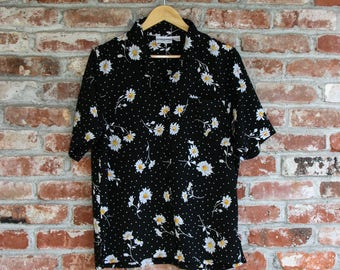 NEW Vintage Floral Polka Dot Blouse