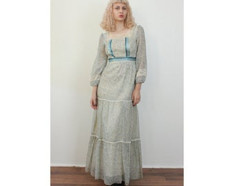 70s Boho Maxi Dress // Vintage Romantic Sheer Prairie Hippie Floral Dress Blue - Small