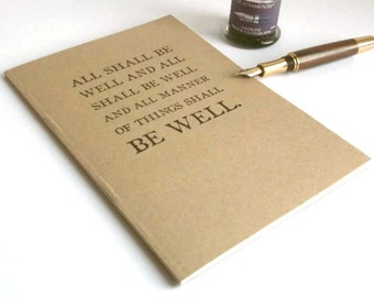 All Shall Be Well journal A5 | Literary Typography Quotation Notebook | Julian of Norwich Kraft Writing Book, Recycled Paper | Office Gift