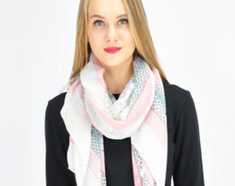 Baby White Pink Scarf, Soft Pink Scarf, Spring Scarf, Summer Scarf, Gift for her, Womens Scarves, Accessories