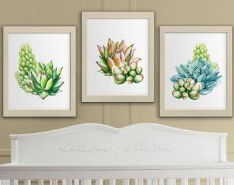 Succulents printable watercolor wall art, succulent set printable cactus nursery wall decor, printable art cacti download home decor