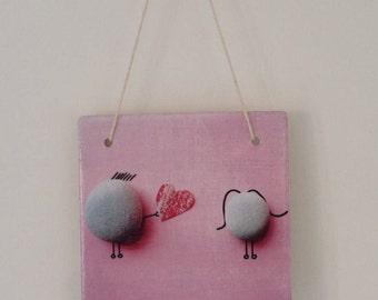 Rock Couple Love Heart Romantic sign Ceramic Tile Hanging plaque