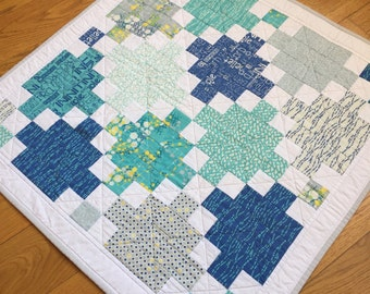 Hand Made Quilt: Blues, Greens, Greys