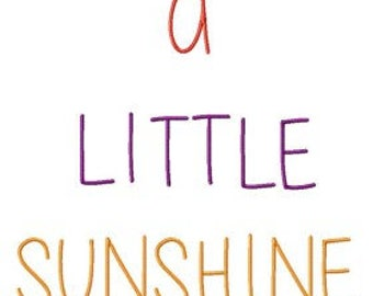 A Little Sunshine Machine Embroidery Font Design Instant Digital download