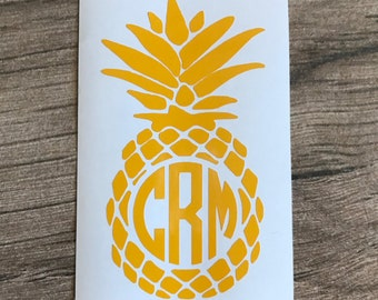 Pineapple Monogram, Pineapple Decals, Pineapple with Monogram, Pineapple Decal for Yeti, Pineapple Decal for Cups