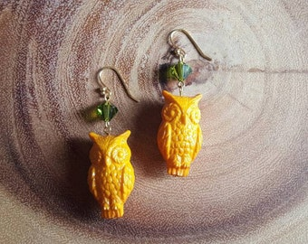 Owl & Crystal Earrings