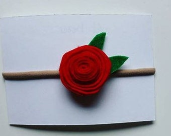 Flower headband, rolled flower, felt rolled flower headband, rolled flower headband, red felt flower