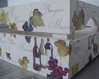 WOODEN CRATE WINE, handmade wooden crate, wooden storage boxes, gift ideas, home decorations, decoupage crate, personalized crate
