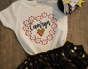Personalized, Baby Girl, Gold,  Red, Black, Hearts, Newborn, 3-6 Mo,  Bloomers, Headband and Socks, Set