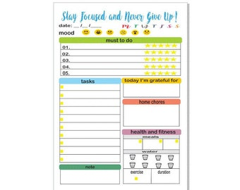 Printable Daily Planner 2017 Daily Agenda Daily To Do Page