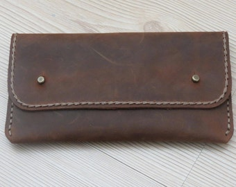 Brown Leather Clutch, Womens Wallet, Leather Purse, Clutch Bag, Leather Pouch, Gift For Her, Mothers Day Gift