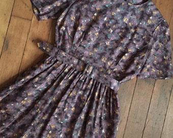 vintage 1960s dress // 60s purple dress with belt