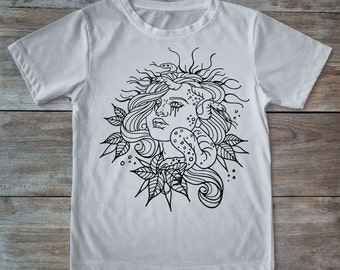 Medusa shirt, medusa tattoo, evil eye shirt, tattoo shirt, classic tattoo art, old school shirt, hipster gift, gift for tattoo lover