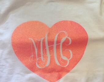 Heart monogrammed shirt
