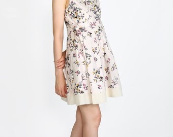 Floral wrap dress in linen Modern Hanbok