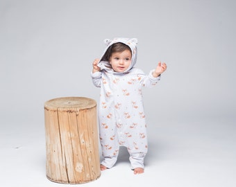 Fox Coverall Baby Coverall Boys Coverall Baby Outfit Baby Clothing Kids Clothing Fox Print Baby Shower Gift Baby Onesie