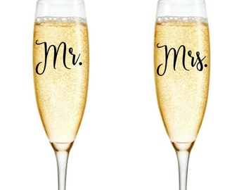 Mr & Mrs Decals, Champagne Decal, Wine Glass Decals, Wedding Stickers, Wedding Decals, Mr and Mrs Stickers, Mr and Mrs Wine Glass Decal
