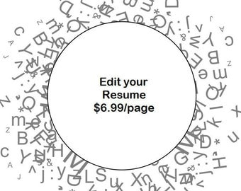 resume edit etsy
