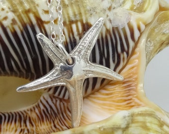 Silver Starfish Necklace,Pure Silver Starfish Pendant,Sterling Silver Chain, Silver Starfish Charm, Silver Starfish Necklace, Silver Gift