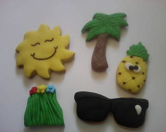 12 Aloha Summer Handmade Hand Decorated Cookies Baked Goods Cookie Gifts Kid's Birthday Favors Party Favour Beach Cookies Summer Cookie