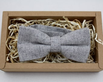 Men's Gray Wool Bow Tie