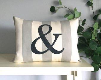 Ampersand Pillow, & Pillow, Decorative Pillow, Rustic Home Decor, Accent Pillow