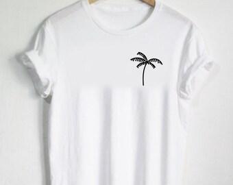 Palm Tree Shirt - Plant Tshirt Pocket Shirt Unisex Mens or Womans Shirt Cute Tee Simple Graphic Nature Tropical Pineapple Island Leaves Leaf